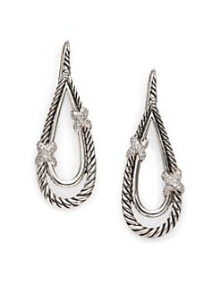 David Yurman - Diamond & Sterling Silver Teardrop Earrings