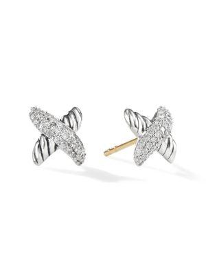 X Earrings with Diamonds