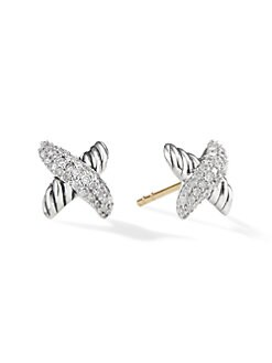 David Yurman - Diamond & Sterling Silver Stud Earrings