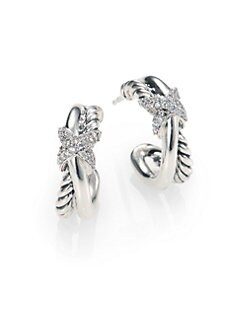 David Yurman - Diamond & Sterling Silver Small Hoop Earrings