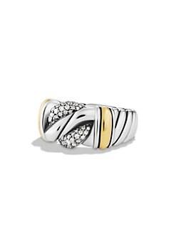 David Yurman - Diamond, 18K Yellow Gold & Sterling Silver Curb Band Ring