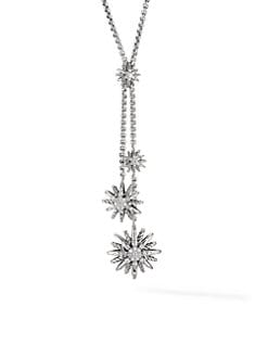David Yurman - Diamond and Sterling Silver Starburst Lariat Necklace