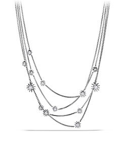 David Yurman - Diamond and Sterling Silver Starburst Bib Necklace