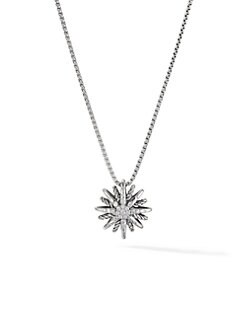 David Yurman - Diamond and Sterling Silver Starburst Pendant Necklace/Small