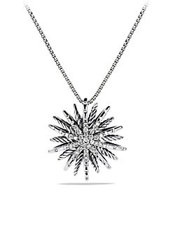 David Yurman - Diamond and Sterling Silver Starburst Pendant Necklace/Medium