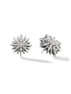 David Yurman - Diamond and Sterling Silver Starburst Button Earrings