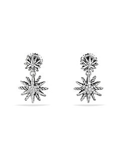 David Yurman - Diamond and Sterling Silver Double Starburst Earrings