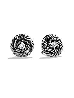 David Yurman - Diamond & Sterling Silver Button Earrings