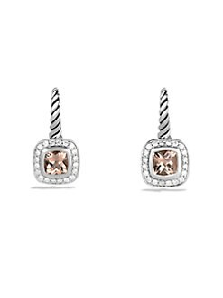 David Yurman - Morganite, Diamond & Sterling Silver Drop Earrings