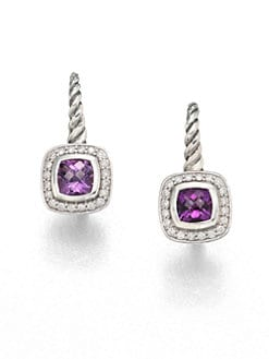 David Yurman - Amethyst, Diamond & Sterling Silver Drop Earrings