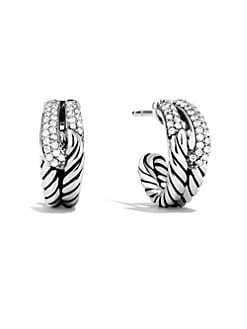 David Yurman - Diamond & Sterling Silver Huggie Hoop Earrings