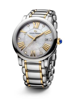 Classic 38MM Stainless Steel Quartz Watch with 18K Gold and Diamonds