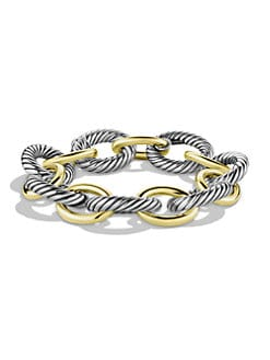 David Yurman - Sterling Silver & 18K Yellow Gold Extra-Large Link Bracelet