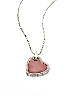 David Yurman - Rhodonite & Sterling Silver Heart Tag Necklace
