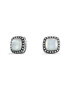 David Yurman - Moon Quartz, Diamond & Sterling Silver Button Earrings