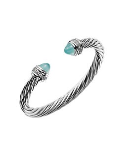 David Yurman - Diamond Accented Aqua Chalcedony Cable Cuff Bracelet