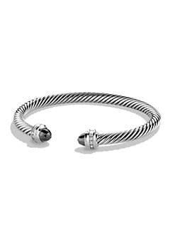 David Yurman - Diamond Accented Hematite Cable Cuff Bracelet/5mm