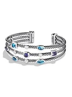 David Yurman - Semi-Precious Multi-Stone, Diamond & Sterling Silver Triple-Row Cuff Bracelet