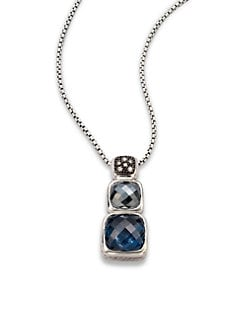 David Yurman - Diamond Accented Semi-Precious Multi-Stone Chiclet Pendant Necklace