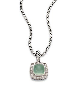 David Yurman - Diamond Accented Aqua Chalcedony Pendant Necklace