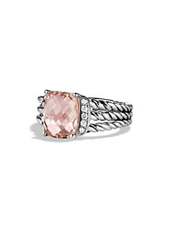 David Yurman - Diamond Accented Morganite Sterling Silver Ring