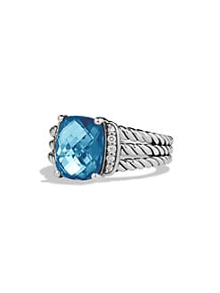 David Yurman - Diamond Accented Blue Topaz Ring