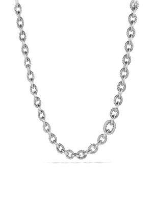 Oval Large Link Necklace with Diamonds