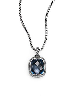 David Yurman - Hampton Blue Topaz, Diamond & Sterling Silver Pendant Necklace
