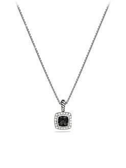 David Yurman - Black Onyx, Diamond & Sterling Silver Pendant Necklace