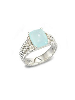 David Yurman - Aqua Chalcedony, Diamond & Sterling Silver Ring
