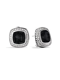 David Yurman - Black Onyx, Diamond & Sterling Silver Button Earrings