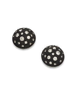 David Yurman - Diamond Accented Blackened Sterling Silver Button Earrings