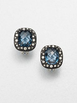 David Yurman - Diamond Accented Blue Topaz Button Earrings