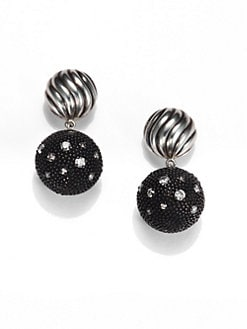 David Yurman - Diamond & Sterling Silver Ball Drop Earrings