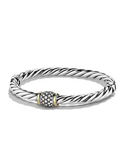 David Yurman - Pave Diamond Accented 18K Gold & Sterling Silver Bangle