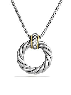 David Yurman - Pav&eacute; Diamond Accented 18K Gold & Sterling Silver Loop Pendant Necklace