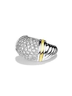 David Yurman - Metro Small Dome Ring with Diamonds and Gold