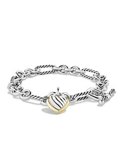David Yurman - Sterling Silver & 18K Yellow Gold Heart Charm Bracelet