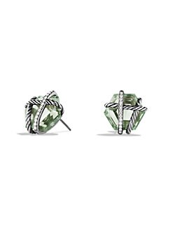 David Yurman - Prasiolite, Diamonds & Sterling Silver Button Earrings