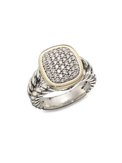 David Yurman - Pave Diamond 18K Gold & Sterling Silver Ring