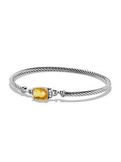 David Yurman - Citrine, Diamond & Sterling Silver Bangle Bracelet