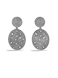 David Yurman - Diamond & Sterling Silver Coil Drop Earrings