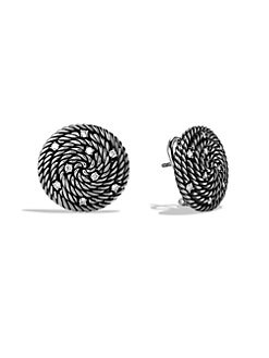 David Yurman - Sterling Silver & Diamond Button Earrings