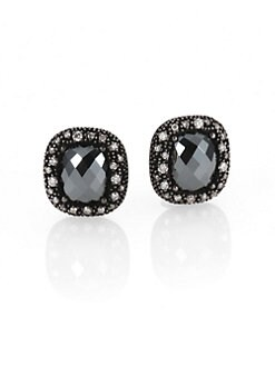 David Yurman - Hematite, Diamond & Sterling Silver Button Earrings