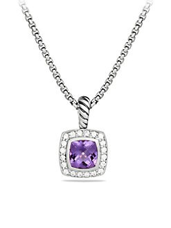 David Yurman - Amethyst, Diamond & Sterling Silver Pendant Necklace