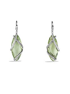 David Yurman - Prasiolite, Diamond & Sterling Silver Drop Earrings