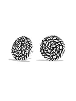 David Yurman - Diamond Accented Sterling Silver Button Earrings