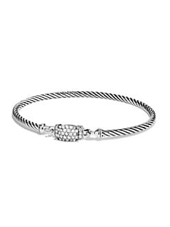 David Yurman - Pav&eacute; Diamond Accented Sterling Silver Bangle Bracelet