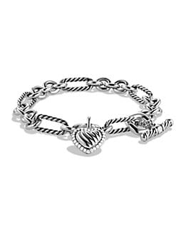David Yurman - Diamond & Sterling Silver Heart Charm Bracelet