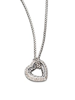 David Yurman - Diamond & Sterling Silver Open Heart Necklace